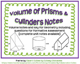 Volume of Prisms and Cylinders Guided Notes for Geometry