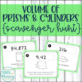 Volume of Prisms and Cylinders Scavenger Hunt Activity - C
