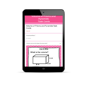 Volume of Prisms and Pyramids Task Cards CCS 7.G.6