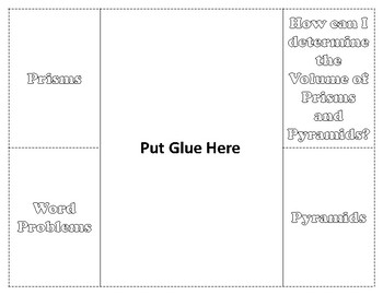 Volume of Prisms and Pyramids Foldable / Graphic Organizer