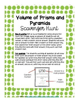 Volume of Prisms and Pyramids Scavenger Hunt