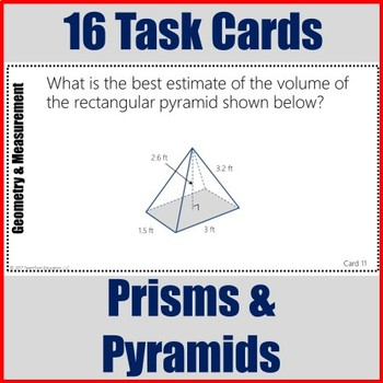 Volume of Prisms and Pyramids Task Cards 7th Grade