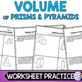Volume of Prisms and Pyramids Worksheet Practice