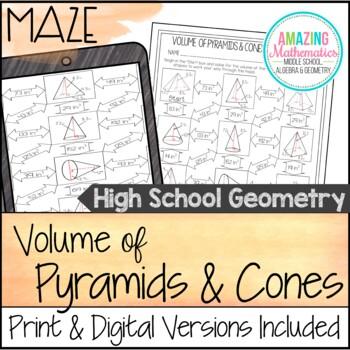 Volume Of Pyramids Cones Maze Hs Geometry Level By Amazing