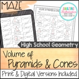 Volume of Pyramids & Cones Worksheet - HS Geometry Level M