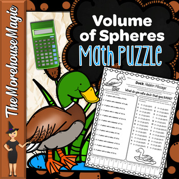 VOLUME OF SPHERES COMMON CORE MATH PUZZLE