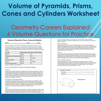 Volume of Pyramids, Prisms Cones with Career Explanation--Practice Worksheet