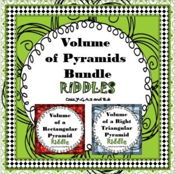 Finding Volume of Pyramids RIDDLE Bundle Activity Worksheets It's Fun!
