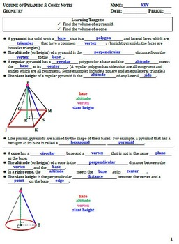 Volume of Pyramids and Cones Guided Notes for Geometry