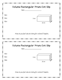 Volume of Rectangular Prism Exit Slip