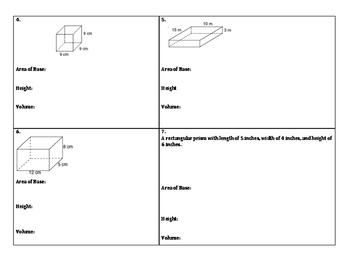 Volume of Rectangular Prism Independent Practice