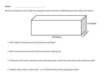 Volume of Rectangular Prism Practice
