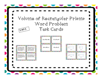 Volume of Rectangular Prism Differentiated Word Problem Task Cards