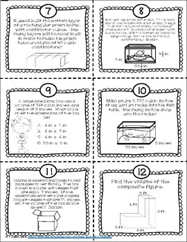 Volume of Rectangular Prisms CCSS Task Cards and Worksheets
