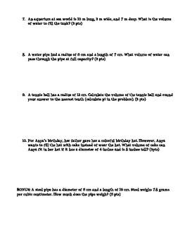 Volume of Rectangular Prisms, Cylinders, Cones and Spheres Quiz