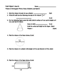 Volume of Rectangular Prisms, Cylinders, Cones and Spheres Quiz