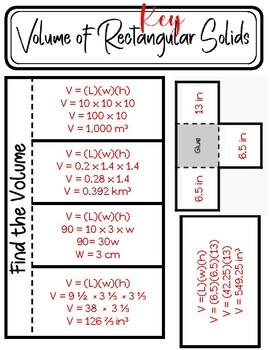 Volume of Rectangular Prisms Foldable
