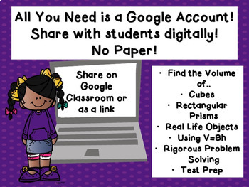 Volume of Rectangular Prisms Google Classroom Activity TEKS 5.6A 5.6B 5.4H