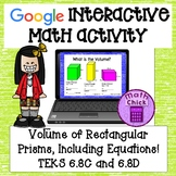 Volume of Rectangular Prisms Including Equations TEKS 6.8C 6.8D Google Ready