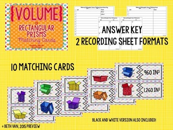 Volume of Rectangular Prisms Matching Cards Game CCSS 5.MD.5