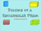 Volume of Rectangular Prisms - Missing Dimension - Smartboard