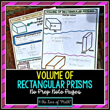 Volume of Rectangular Prisms No Prep Note Pages