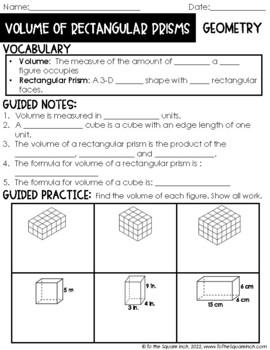 Volume of Rectangular Prisms Notes
