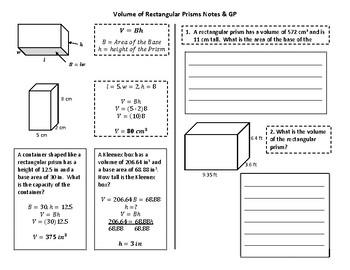Volume of Rectangular Prisms Notes & GP