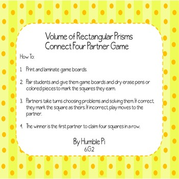 Volume of Rectangular Prisms Partner Game- 6.G.2