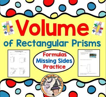 Volume of Rectangular Prisms Formulas Missing Sides Practice Worksheet Geometry
