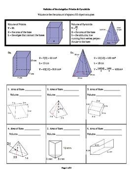Volume of Rectangular Prisms & Pyramids