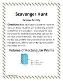 Volume of Rectangular Prisms-Scavenger Hunt Review