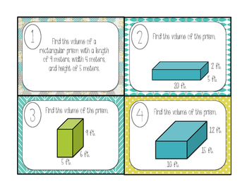 Volume of Rectangular Prisms Task Cards