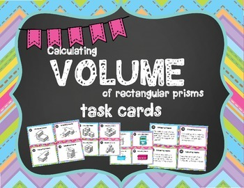 Volume of Rectangular Prisms Task Cards: Includes Additive Volulme