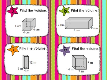 Volume of Rectangular Prisms Task Cards and Recording Sheets CCSS 6.G.2