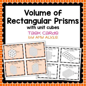 Volume of Rectangular Prisms Using Unit Cubes Task Cards
