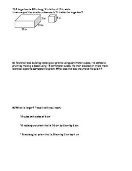 Volume of Rectangular Prisms Worksheet