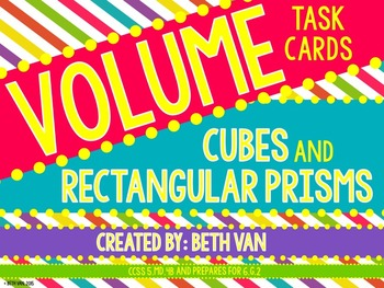 Volume of Rectangular Prisms and Cubes Task Cards CCSS 5.MD.4