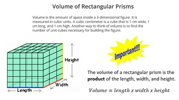 Volume of Rectangular Prisms and Cubes (PowerPoint Lesson and printables!)