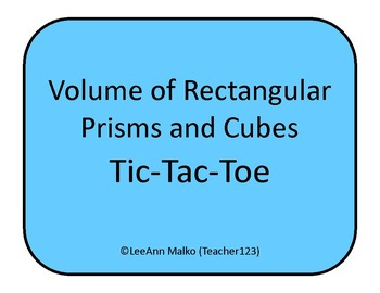 Volume of Rectangular Prisms and Cubes Tic-Tac-Toe