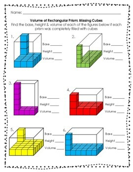 volume of rectangular prisms and irregular figures worksheets tpt. Black Bedroom Furniture Sets. Home Design Ideas
