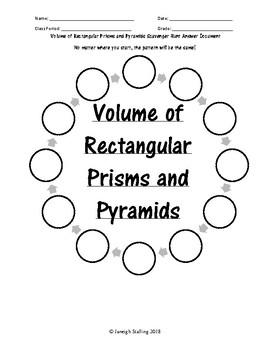 Volume of Rectangular Prisms and Pyraminds Scavenger Hunt