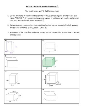 Volume of Rectangular Prisms w/ Fractional Edge Lengths Save the Teacher Mystery
