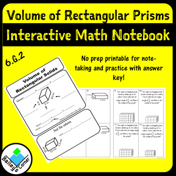 Volume of Rectangular Prisms with Fractional Edge Lengths Notes and Practice