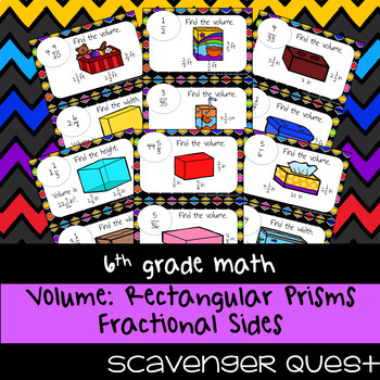 Volume of Rectangular Prisms with Fractional Sides - Math Scavenger Quest