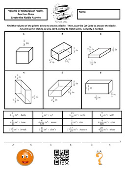 Volume of Rectangular Prisms with Fractional Sides Create the Riddle Activity