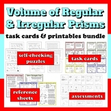 Volume of Regular & Irregular Prisms - task cards and prin