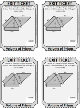 Volume of Solids - 20 Exit Tickets