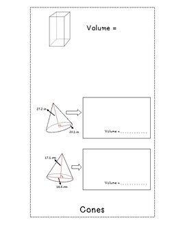 Volume of Solids Foldable for Interactive Notebook