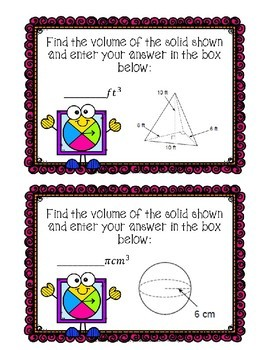 Volume of Solids Review Boom Cards--Digital Task Cards
